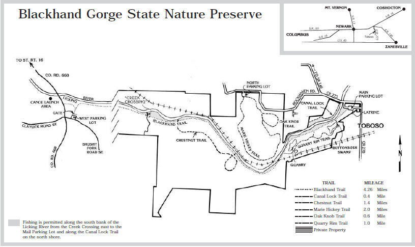 Blackhand Gorge State Nature Preserve Map