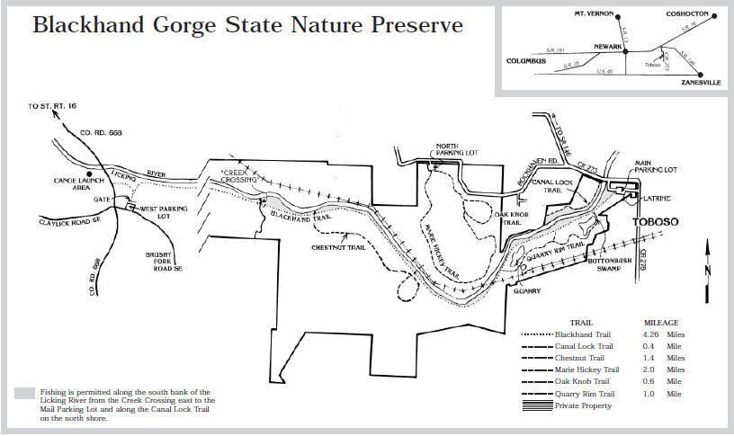 Blackhand Gorge State Nature Preserve Map