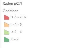 Radon legend for map